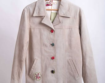Suede Jacket Beige 80s-Gucci style-embroidered ice-cod D39