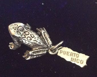 Sterling silver Puerto Rico frog charm vintage # 196