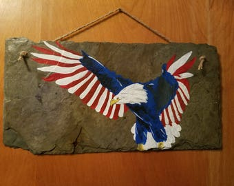 Hand Painted Slate, Bald Eagle, American Flag, Patriotic, 4th of July, wall decor