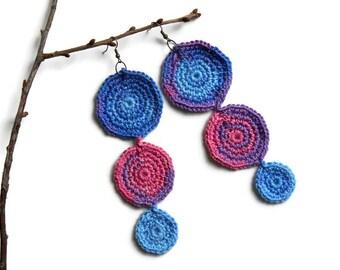 crochet earrings, Ear accessory, ring earrings, Gypsy earrings, Colorful Earrings, Unique earrings, Handmade earrings, Dangle earrings