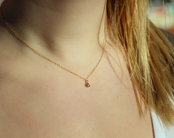 """Short, 16"""" 14kt Gold-filled Chain Necklace with a Cubic Zirconia CZ Crystal Drop, Minimal Gold Necklace"""