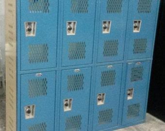Vintage Industrial School lockers, All Steel Lockers, Blue lockers, Old school lockers, All lockers opened, Great for shop, work, or home