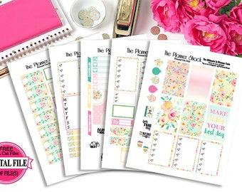 Summer Blooms // Big Happy Planner // Printable Planner Stickers