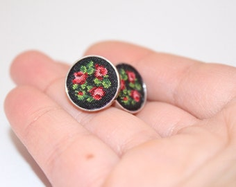 Hand Embroidered Earrings. Embroidered pusets. Embroidered vintage bouquet. Jewelry gift. Petit point embroidery. Unique textile jewelry.