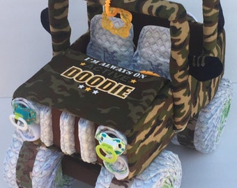Army jeep, army baby, camo baby shower, military baby, army baby shower, diaper jeep, jeep diaper cake, unique baby gift, baby shower boy