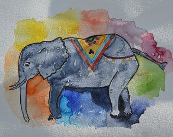 ELEPHANT watercolor illustration print
