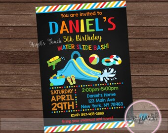 Water Slide Party Invitation, Boy Waterslide Birthday Invitation, Water Slide Birthday Party Invitation, Boy Pool Party, Digital File