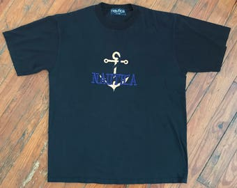 Vintage 90s Embroidered Bootleg Nautica Anchor T Shirt