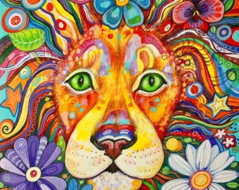 Flower Power Lion - original painting