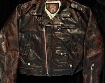 D Pocket leather jacket - Distressed W/ Patina Brown Sz: 48 XL