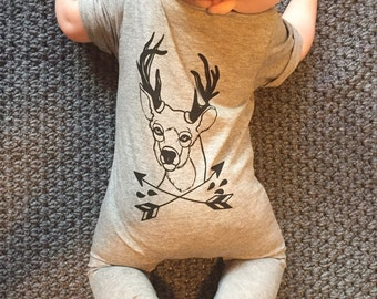 Deer Baby / Toddler Grey Long Johns - Romper
