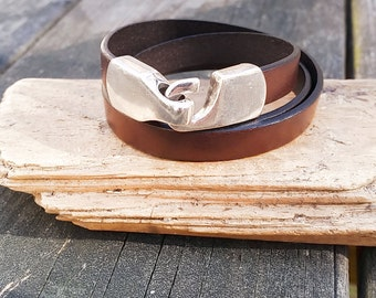 Dark Brown Leather triple wrap