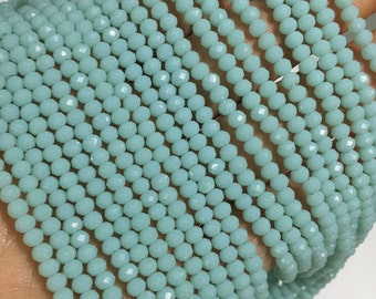 1Full Strand 3*2mm Blue Crystal Rondelle Beads, Crystal Glass Beads For Jewelry Making