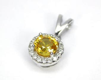 Natural yellow sapphire pendant silver sterling.