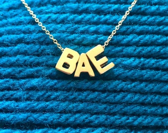 18 k Gold Vermeil BAE Initials on a Gold Filled Chain
