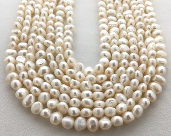 "5mm white, cream Fresh Water Pearl Beads, mixed shape Pearls, 15"" Strand, Approx. 70 beads"