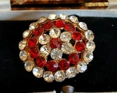Vintage 1950s ruby and clear crystal oval brooch beautiful fashion statement brooch authentic brooch prop