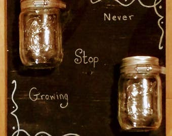 Chalk Board Mason Jar Wall Planter // Indoor // Outdoor Herb Garden