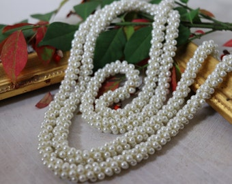 "Vintage 46"" Faux pearl long woven multi-bead necklace, estate jewelry, bridal jewelry, prom jewelry, gifts for her, gifts for mom"