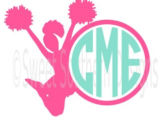 Cheerleader monogram outline SVG instant download design for cricut or silhouette