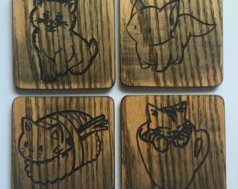 Cat Coasters Set of 4