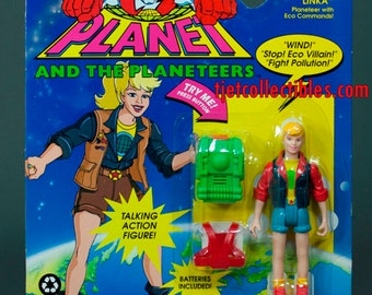 Captain Planet 1991 Series Linka Planeteer Eco Commands Action Figure Tiger Toys