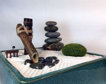 Desktop Zen Garden with Bamboo Fountain and Living Lucky Bamboo. Great Meditation Aid. We Customize Just for You :-)