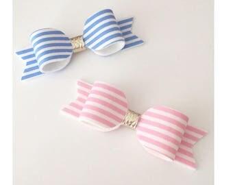 Pinstripe Hair bow, pink hair bow, light blue hair bow, made to match next