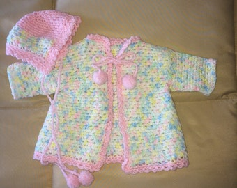Infant Hand Crocheted Sweater & Hat, Handmade,