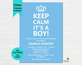 Keep Calm Baby Shower Invitation, It's a Boy Baby Shower Invitation, Keep Calm Invitation, C31