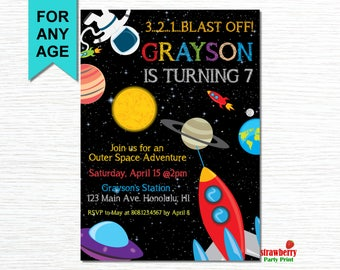 Space Invitation, Space Birthday Invitation, Rocket Ship Birthday, Outer Space Birthday, Astronaut Party, UFO, Party Printables
