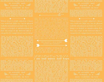 By The HALF YARD - Ardently Austen by Amanda Herring of The Quilted Fish for Riley Blake, #C4954 Yellow Austen Text, White Words on Yellow