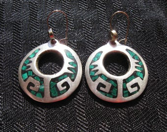 Vintage 925 Silver Mexico Inlay Earrings