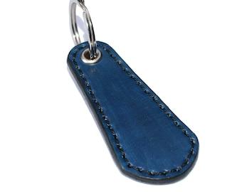 Blue Leather Keychain / Leather Key Holder, Leather Wristlet Keychain / Key Ring, Leather Key Fob, Mens Keychain, Leather Key Chain