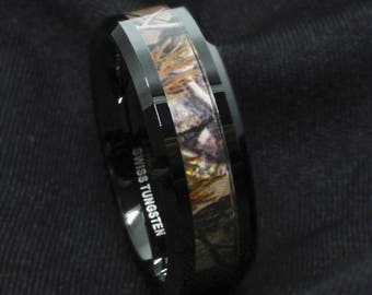 Black Tungsten Mens Red Forest Camouflage Camo Hunting Band Ring