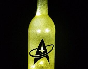 Star Trek yellow led bottle light, Captain Kirk led bottle light, Star Trek lighted bottle