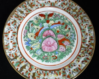 Vintage Chinese Hand-painted Enamelled 1000 Butterflies and Pink Peonies Plate - 10 inch Decorative Plate c 1980