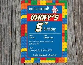 Lego birthday invite 5x7 - Personalized!