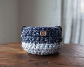 Small crocheted basket with leather handles // featured in Grey Marble and Abalone