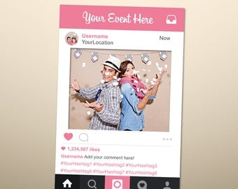 Photo Booth Props, Photo Prop Frame, Instagram Sign, Instagram Prop,  Instagram Frame