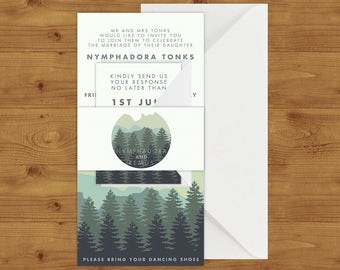 Blue Green Modern Rustic Mountain Belly Bands - Rustic Mountain Wedding - Outdoor Wedding - Wedding Invitation Extras - Wedding Stationery