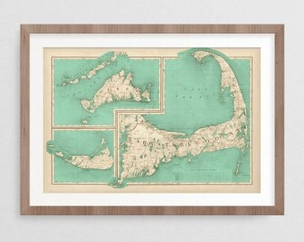 Cape Cod Map- Vintage Decor- Vintage Gifts- Map Gifts- Prints for Decor- Map Art- Cape Cod Art- Eclectic- Massachusetts -Coastal- Design