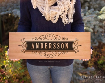 Wood Sign - Personalized Last Name, Family Name Sign, Wedding Gift, Custom Wood Sign, Personalized Engagement Gift, Anniversary Gift (GP004)