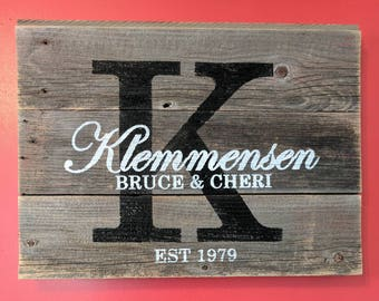 Gray Rustic Wedding Sign - Custom Anniversary Gift - Housewarming Gift - Established Date - Custom Sign - Wedding Decor - Last Name Sign