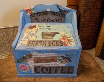 Recipe box, kitchen storage, tea bag caddie, wall pocket, lidded box, farmhouse decor, decoupage wood, wall storage box, shabby cottage chic