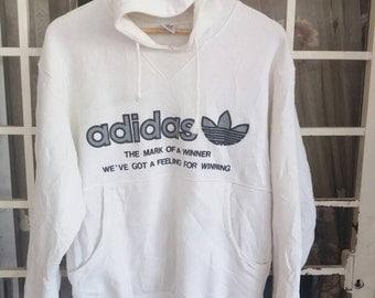 Vintage 90s adidas trefoil hoodie soellout big logo/white/large/sportwear/streetwear/made in japan