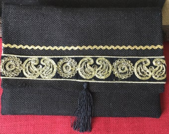 Black Hessian Clutch with Indian Embroidery