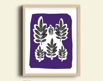 Botanical print, plant print, PRINTABLE art, botanical art, printable wall art, black and purple, antique botanical, leaf print, nature art