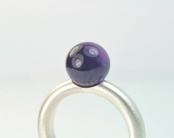 Ring Amethyst ball violet 925 Silver unique fresh designer jewellery hand made in Germany purple gemstone