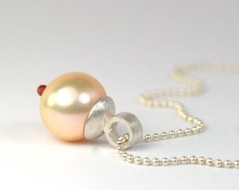 Anhänger Perle, Karneol und Kugelkette 925 Silber